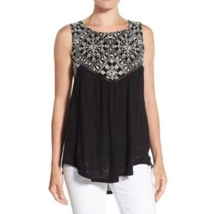 Lucky Brand Embroidered Black Sleeveless Top
